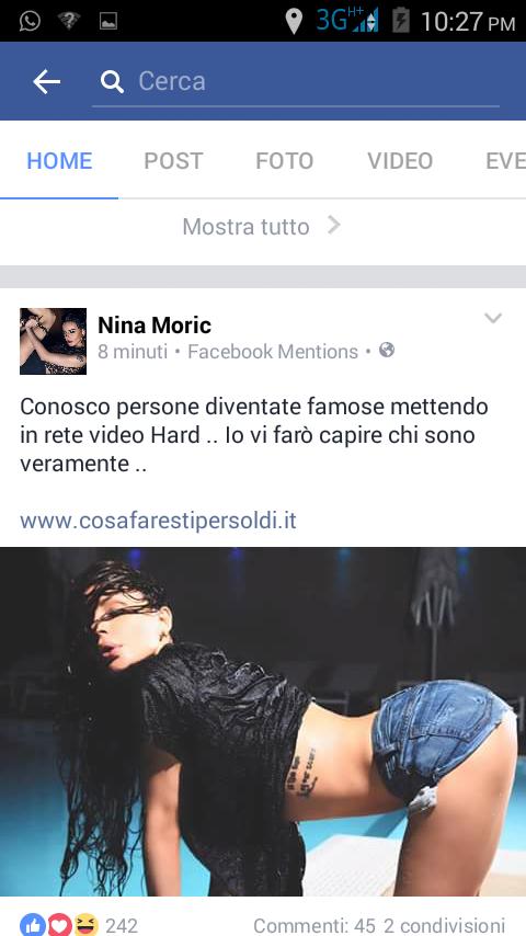 Nina Moric inarrestabile