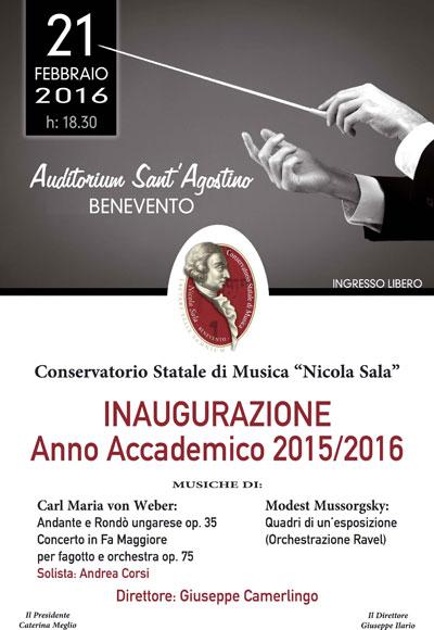 """Tutto pronto per il Concerto d'Inaugurazione dell'Anno Accademico 2015/2016 del Conservatorio """"Nicola Sala"""" di Benevento"""
